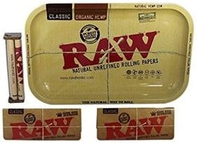 Raw Rolling Tray Small Bundle with Raw 110mm Roller and Raw King Size Supreme Rolling Papers-Best Rolling Trays