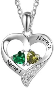 Best Valentine's Day Gifts for Girlfriend - Lovejewelry Sterling Silver Personalized 2 Names Necklace