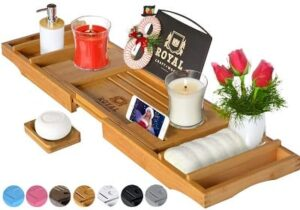 Best Valentine's Day Gifts for Girlfriend - ROYAL CRAFT WOOD Luxury Bathtub Caddy Tray